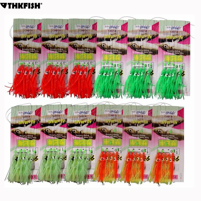 Fishing Lures 60pcs (12 Packs) Squid Jig Sabiki Fishing Rigs Freshwater Saltwater Glow and Red Squid Bait Hooks With Snap Connector