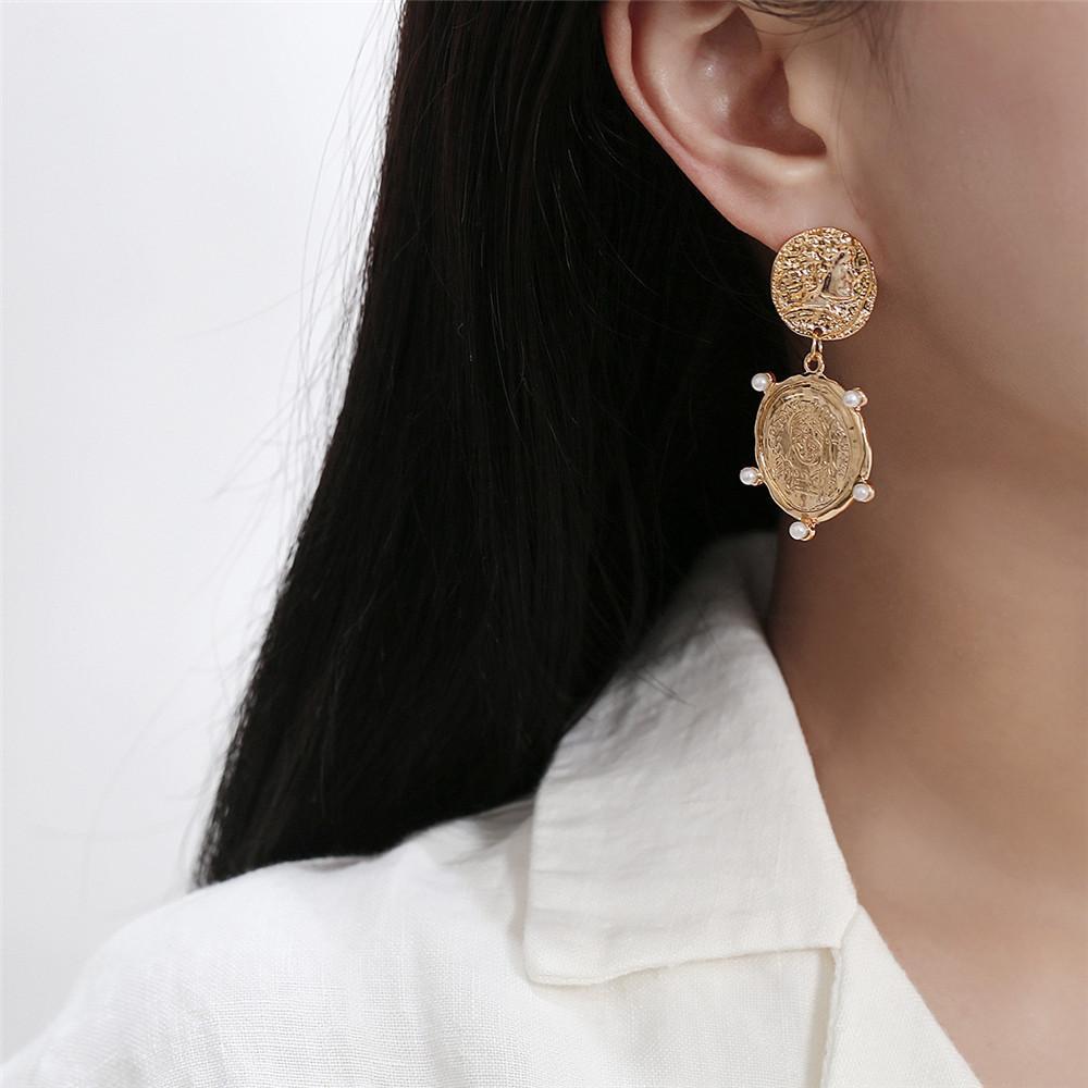 Vintage Münze Muster Anhänger Frauen Ohrstecker Doppel-Anhänger Fashion Jewelry Gold Metal Lady Ohrringe FJ223-2