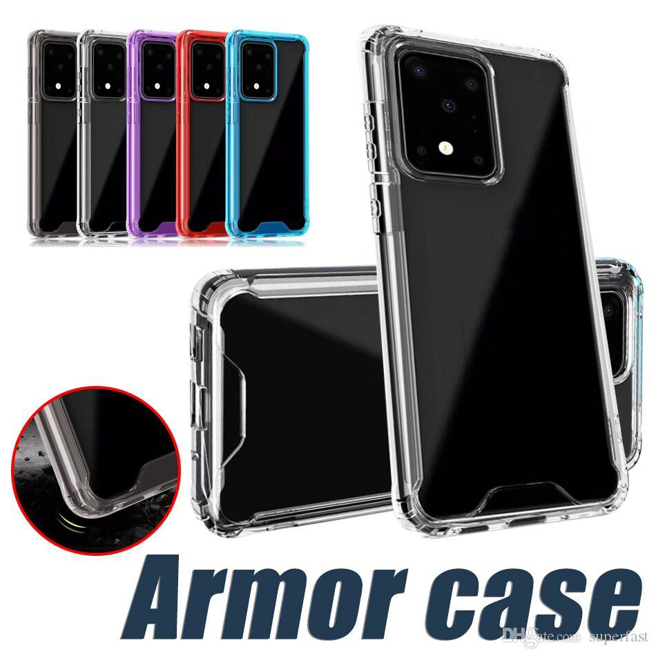 Acrylique transparent TPU PC Phone pour iPhone 11 Pro XS XR 8 Samsung Note 10 S10 S20 S20 plus dur couvercle transparent