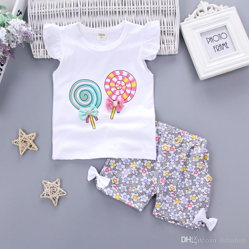 Girls Clothes 2PCS Kids Sets For Girls Outfits Lollipop T-shirt Tops+Short Pants Clothes Set Toddler Kids Baby roupa infantil