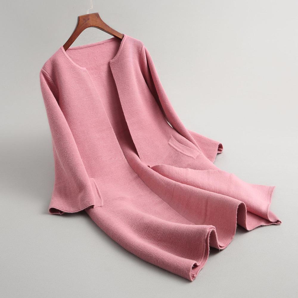 Pop 2019 GTGYFF Autumn Winter Warm Thermal Knitted Jacket Coat Outerwear For Women Pink Green Grey Black Sweater Coats Jersey Sweaters