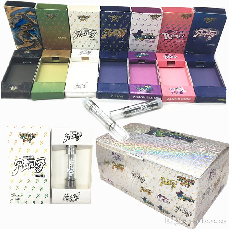 Runtz Vape Cartridges 0.8ml 1ml Carts Packaging Hologram Box 510 Ceramic Coil 1.8mm*4 Oil Hole E-Cigarettes M6T Dank Atomizers White Runtz