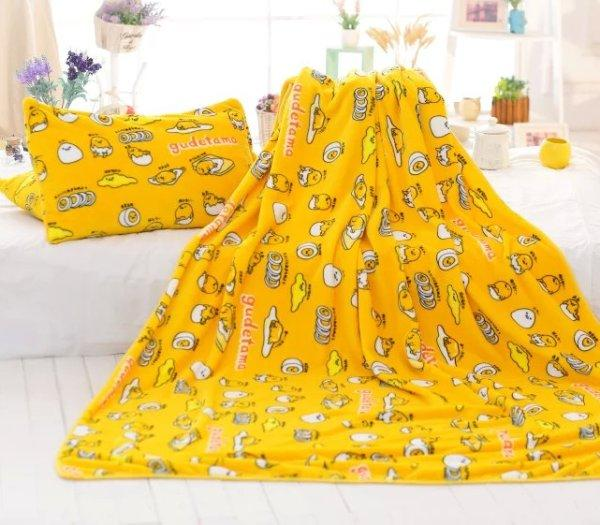 1PCS Yellow gudetama Anime Blanket Plush Velvet Warm Decoration Soft Bed Home Pillows Throw Sofa Blankets Unisex Gifts NEW