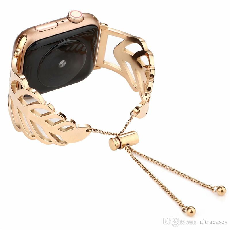 For iwatch Sizes 38mm 42mm Leaves Stainless Steel Strap Watchband For Apple Watch Band Replacement Wristband Bracelet Strap