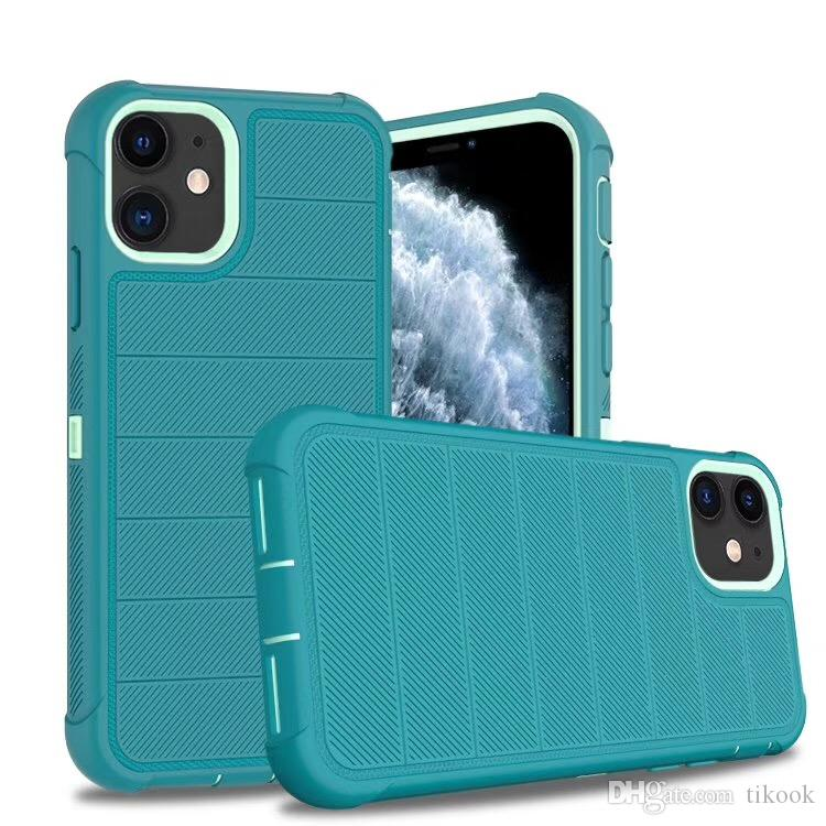 3 Katman Sağlam Defender Kılıf APPLE iPhone 11/11 PRO / 11 MAX / iphone11 / 7/8 / XR / XS MAX 3 1 TPU TPE PC Davalardaki Ön Plastik Darbeye Kapak