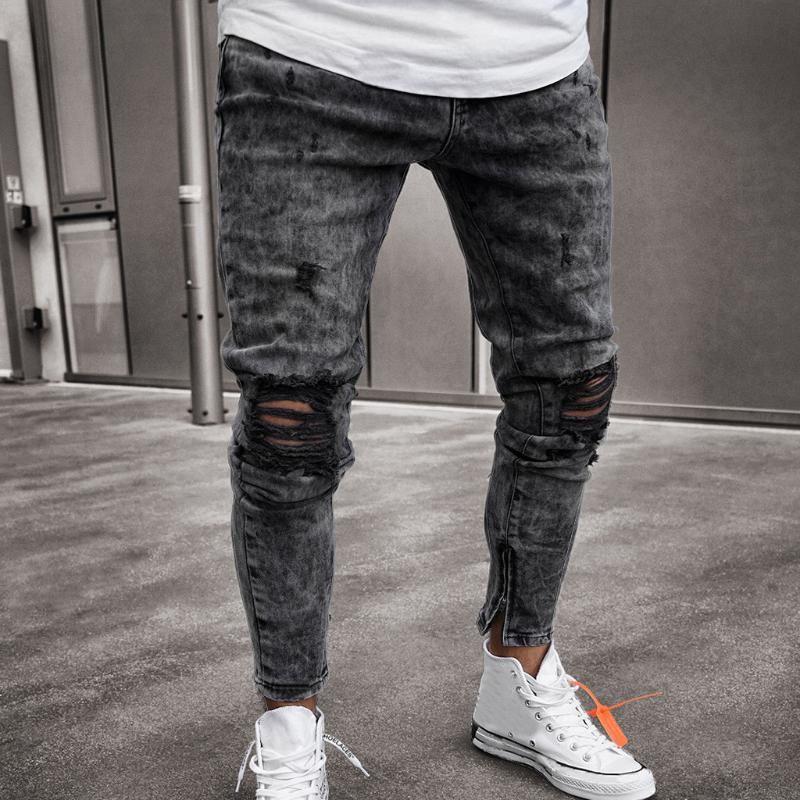 Pantalon Hommes Skinny denim stretch Distressed Ripped Freyed Slim Fit Jeans Pantalons Harajuku Pantalon Hip Hop Pantalons LS 1217