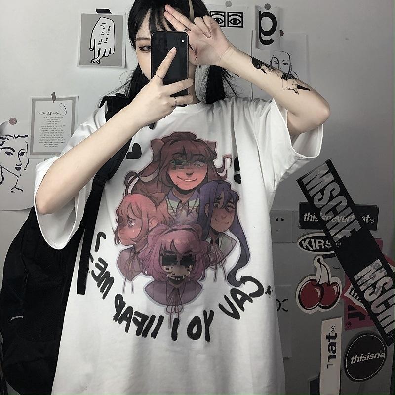 O vestido de escuro Mulheres vento ins maré série escura de banda desenhada carta graffiti pintado à mão impressa maré de mangas curtas T-shirt