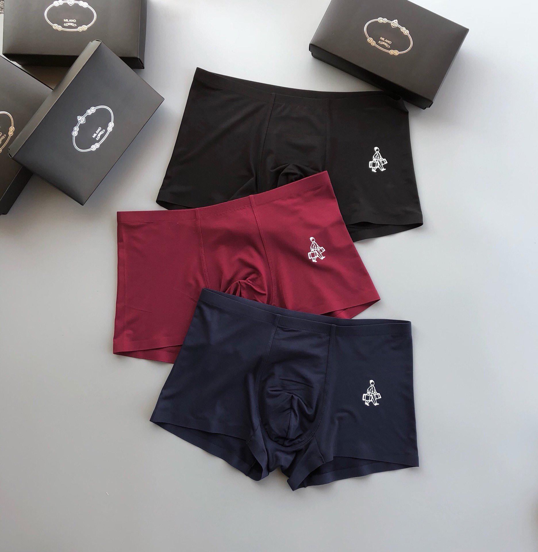2020 del progettista di marca della biancheria intima stile classico di lusso degli uomini di modo di alta qualità Smooth Fit No Curling Una scatola di tre 3 colori M-3XL