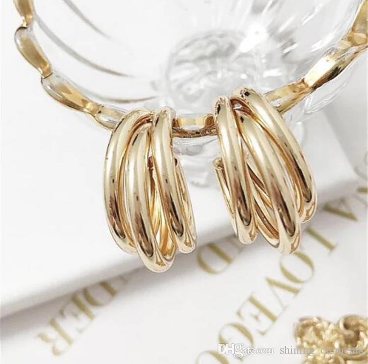 73b1f6c39 Gold Silver Hoops Earrings Minimalist Thick Tube Round Circle Rings Earrings  For Women Zinc Alloy Trendy Hiphop Rock Decorative Hair Clips Accessories  ...
