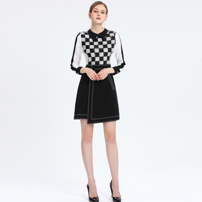 Xiaomoli Temperamento xadrez preto e branco com lapela patchwork irregular vestido novo no outono 2020