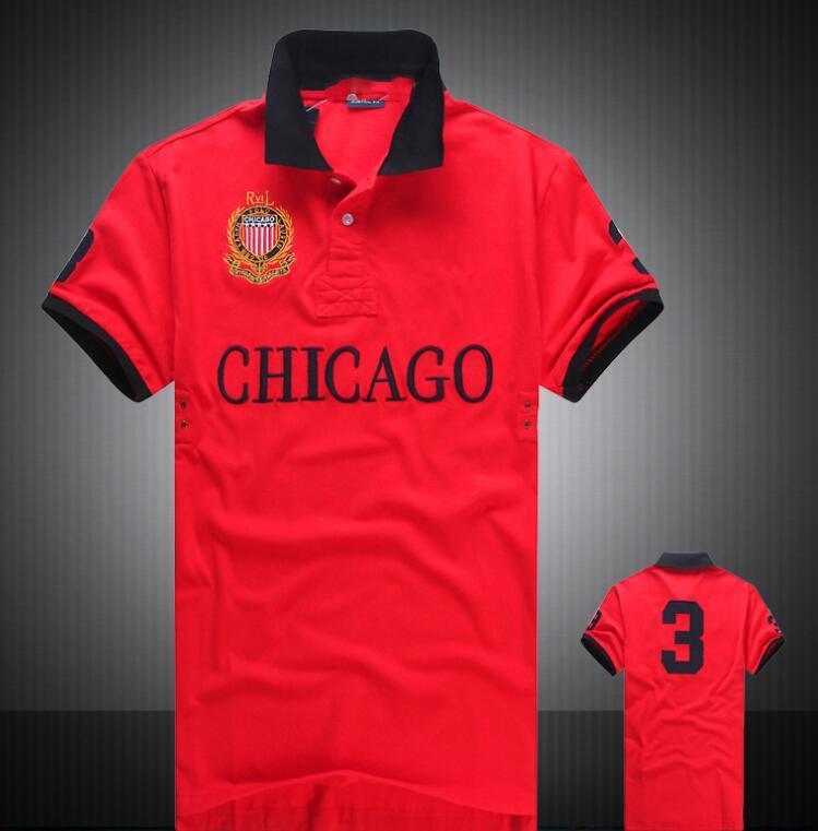 Wholesale-2017 Sommer heißer Verkauf Polo Shirt USA amerikanische Flagge Marke Polos Männer Kurzarm Sport Polo 309 # Man Coat Drop Freies Verschiffen