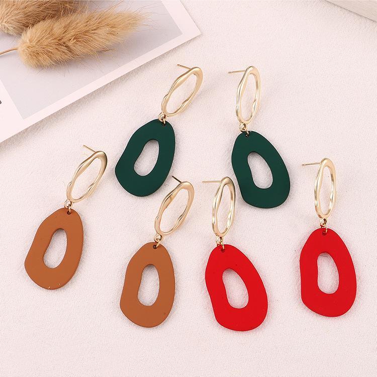 New Korean Ohrstecker für Frauen-Mädchen-Mode Persönlichkeit unregelmäßige geometrische Ohrringe weibliche Acryl rot, grün, braun Ohrring
