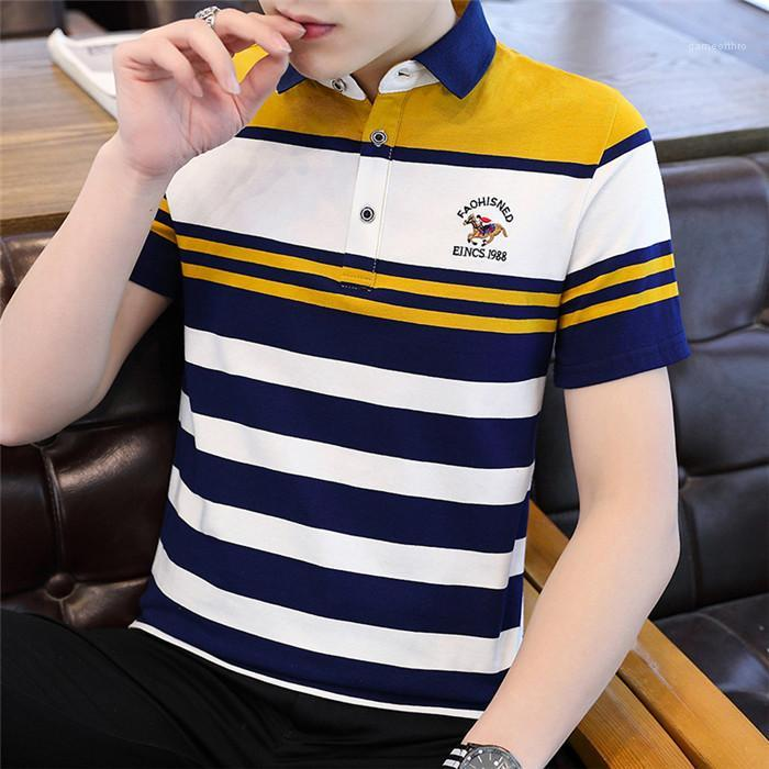 Polo Shirts Casual Slim Mens Short Sleeve Shirts Embroidered Men Striped Clothing Summer Boy Polos Shirts Plus Size 100% Cotton Men's
