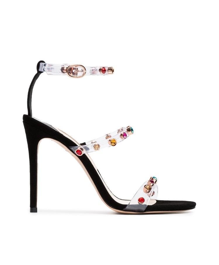 Fairy2019 Webster Sophia Pellicola trasparente in pvc Toe One Word Portare scarpe col tacco alto Fine super alta con sandali Donna