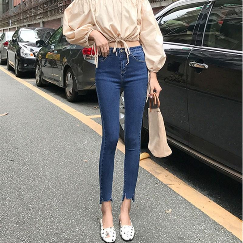 Plus Size New Skinny Lápis Calça Jeans Feminina Azul Denim Calças Rasgadas Estiramento Da Cintura Das Mulheres Tornozelo Comprimento Fino Jeans