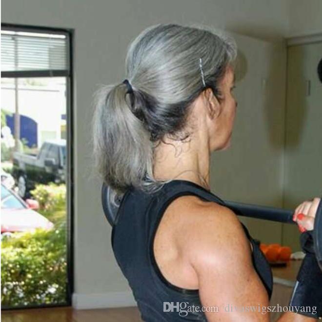 Wrap Around Ponytail One Piece Silver Grey Hair Clip en Pony Tail Extensiones de cabello 16 pulgadas 100 g 120 g para Girl Lady Women Grey Color