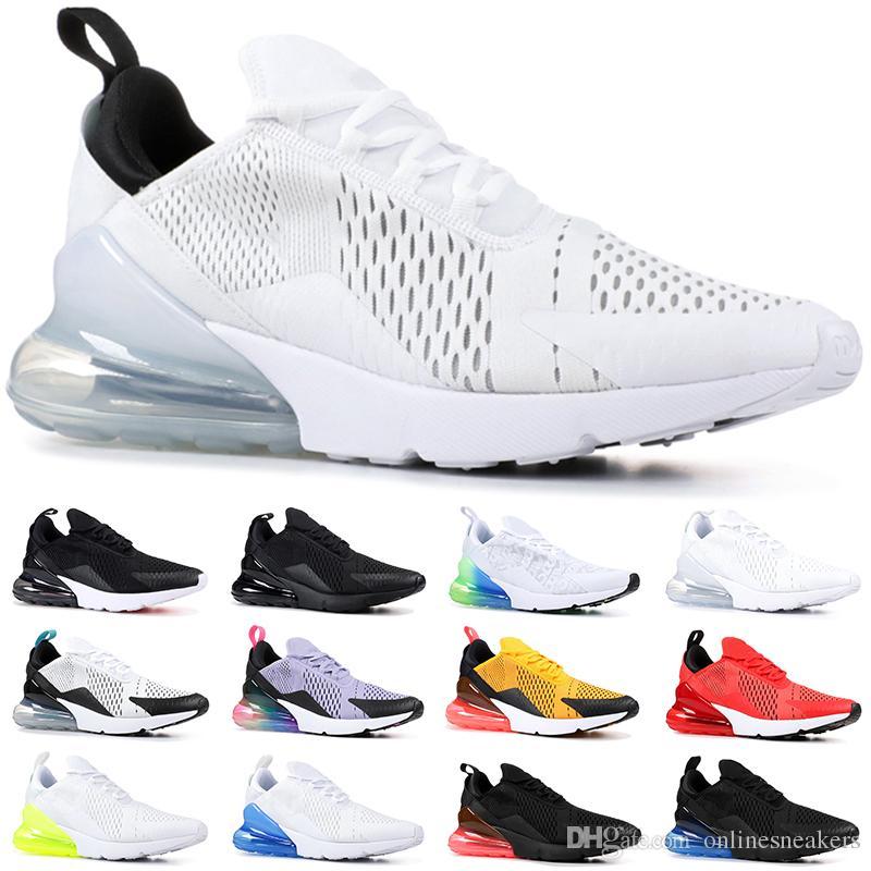 Großhandel Nike Air Max 270 Günstige Mens Frauen Laufschuhe True Gelb Dreifach Schwarz Weiß Hyper Blau Volt Männer Designer Trainer Sport Sneaker