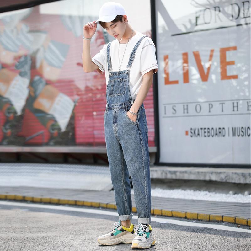 Men's jeans back pants retro conjoined suspender pants trend handsome loose tooling leggings