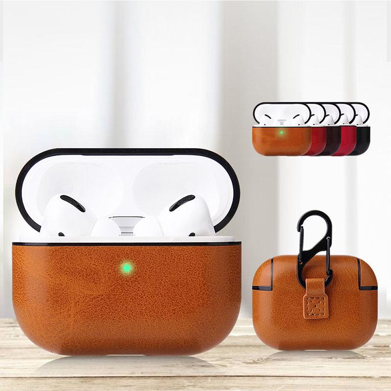 Luxe PU Housse en cuir pour AirPod Pro casque protecteur Box Sac pochette pour Apple écouteurs
