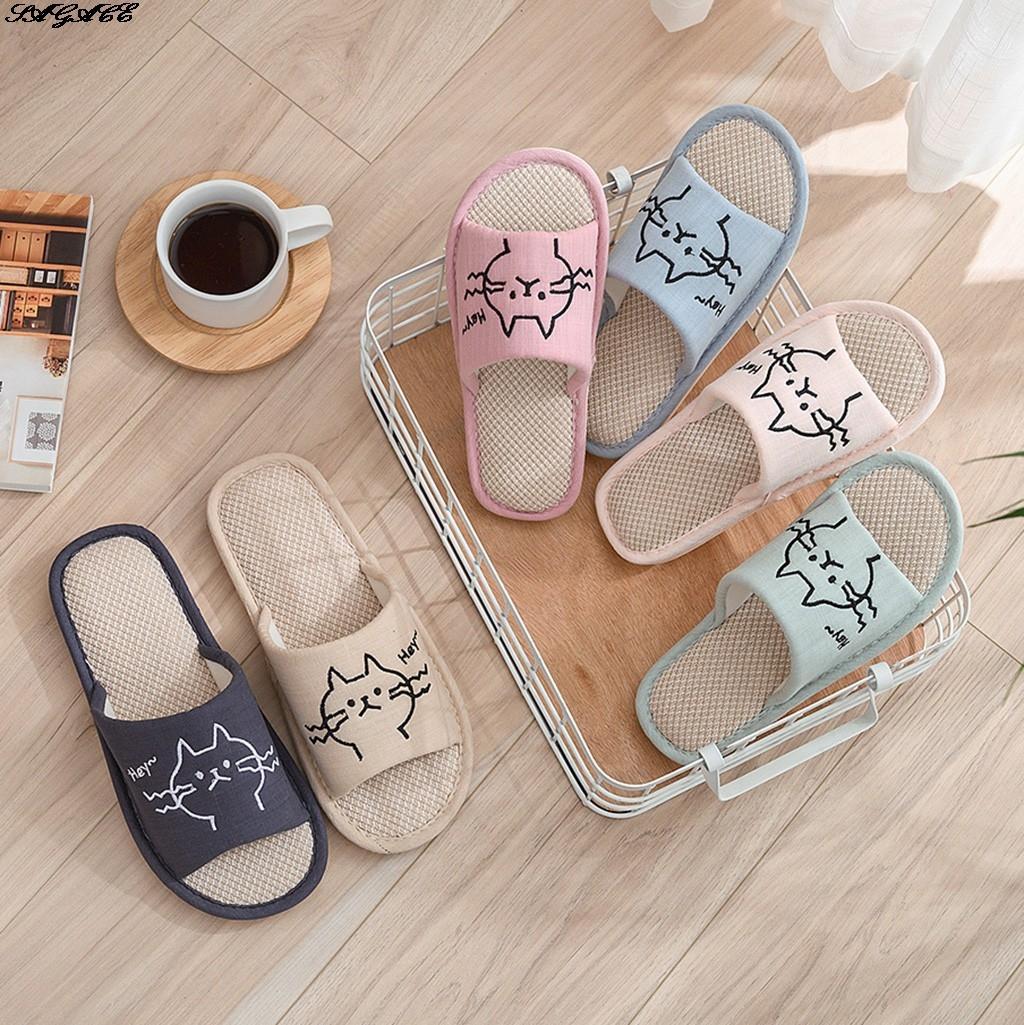 SAGACE femmes d'été Pantoufles dessin animé Cat chanvre lin Tongs souples Chaussures Femme respirant maison confortable chaussons