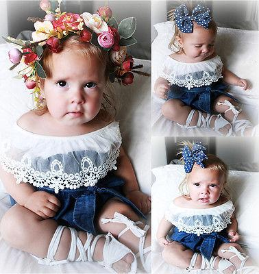 Emmababy 2Pcs Toddler Adorable Baby Girls Lace Tops Shirt Bowknot Denim Shorts Outfits Set Clothes