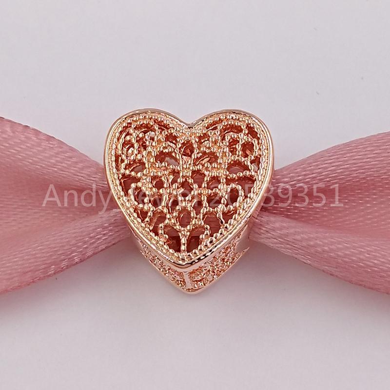 Valentinstag 925 Sterling Silber Perlen gefüllt mit Romantik, Rose Charm passt europäischen Pandora-Stil Schmuck Armbänder Halskette 781811 RO