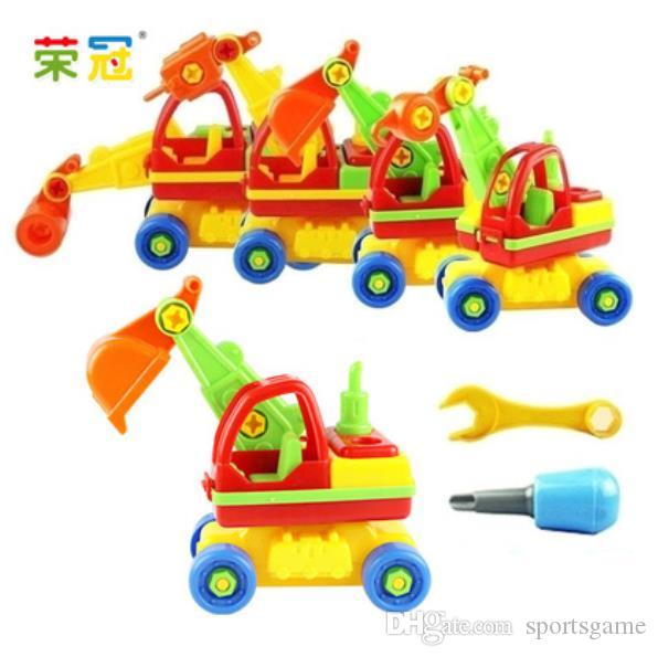 Wholesale Child Baby Disassembly Assembly Cartoon Car Toy Kids Xmas Gift New Model:Excavator Free Shipping