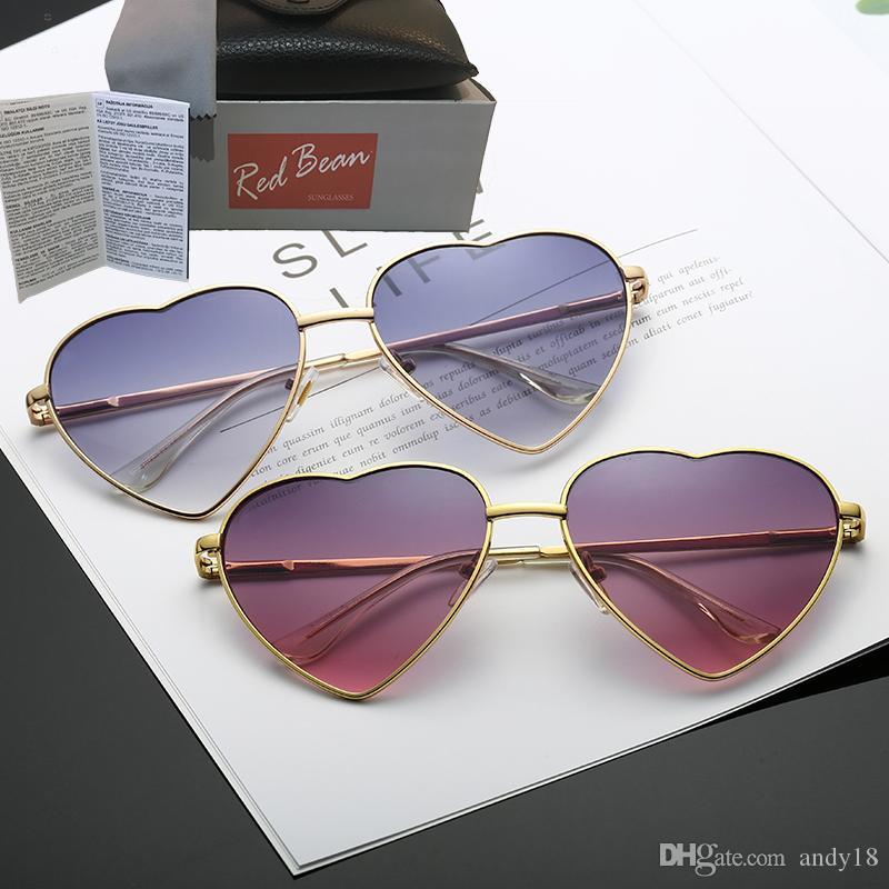 Сердце образный LENES очки Мода женщин солнцезащитные очки мужчин и женщин зеркало óculos де золь Новое Gafas Для партии подарков