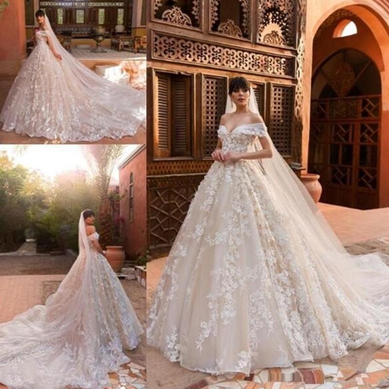 2020 Champagne Ballkleid Brautkleider Aus der Schulter Full 3D Spitze Blumen-Gerichts-Zug mit Schleier nach Maß schnüren sich oben Brautkleider