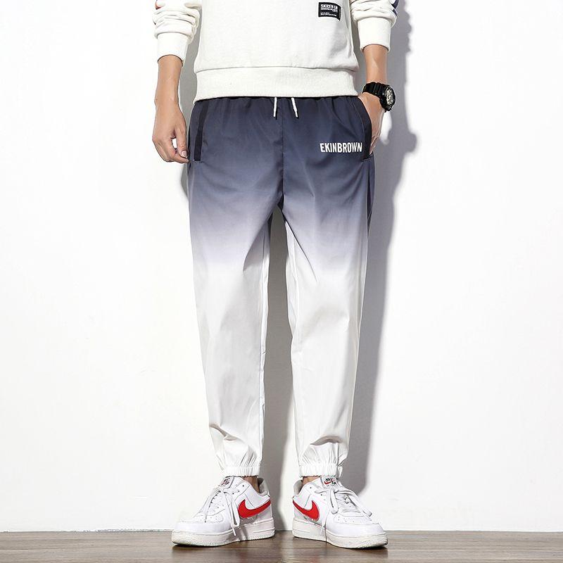 Мужские брюки хлопчатобумажные гусеницы мода градиент повседневные пробежки мужчины спортивные штаны уличная одежда дикие свободные хип-хоп брюки мужские M-5XL