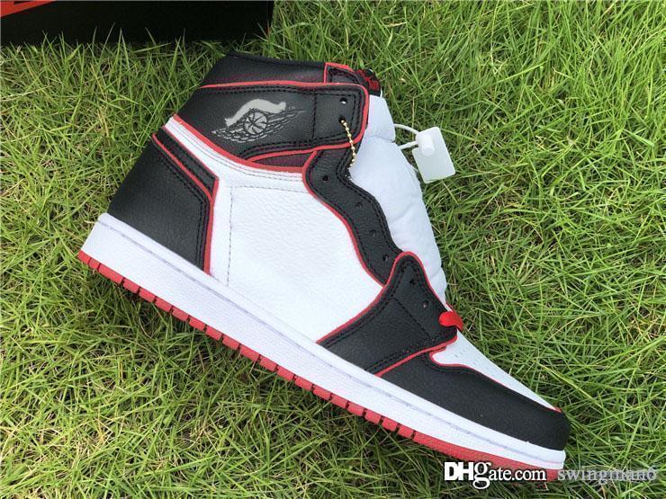 New Air autênticos 1 alta OG Bloodline preto tênis de basquete Academia vermelho-branco Retro Homens Mulheres Sports Sneakers 555088-062 Com Box