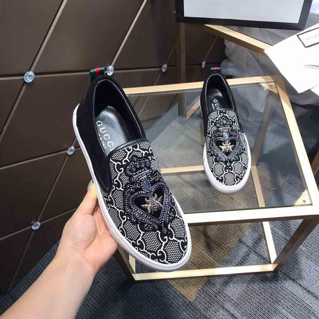 Los nuevos hombres de la moda arrivel holgazán superficie de cuero Negro con el lujo de diseño patrón de marcas de calzado casual Plate-forme zapatos para caminar # 2F