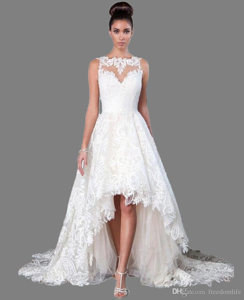 Discount High Quality Boat Neck High Low Wedding Dresses 2019 Long