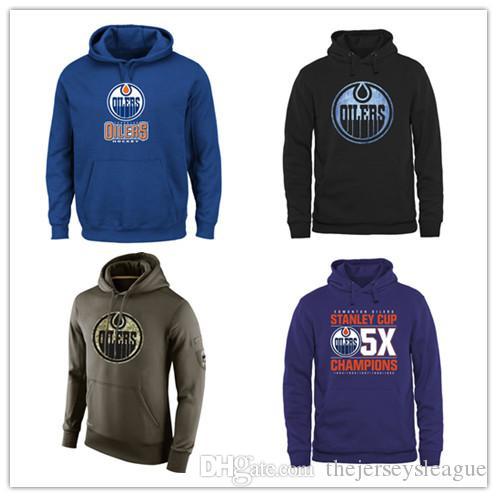 Edmonton Oillers мужская толстовка Salute для обслуживания SiCline Therma Performance Pullover Hoodie Blue Hockey Jersey Бесплатная доставка