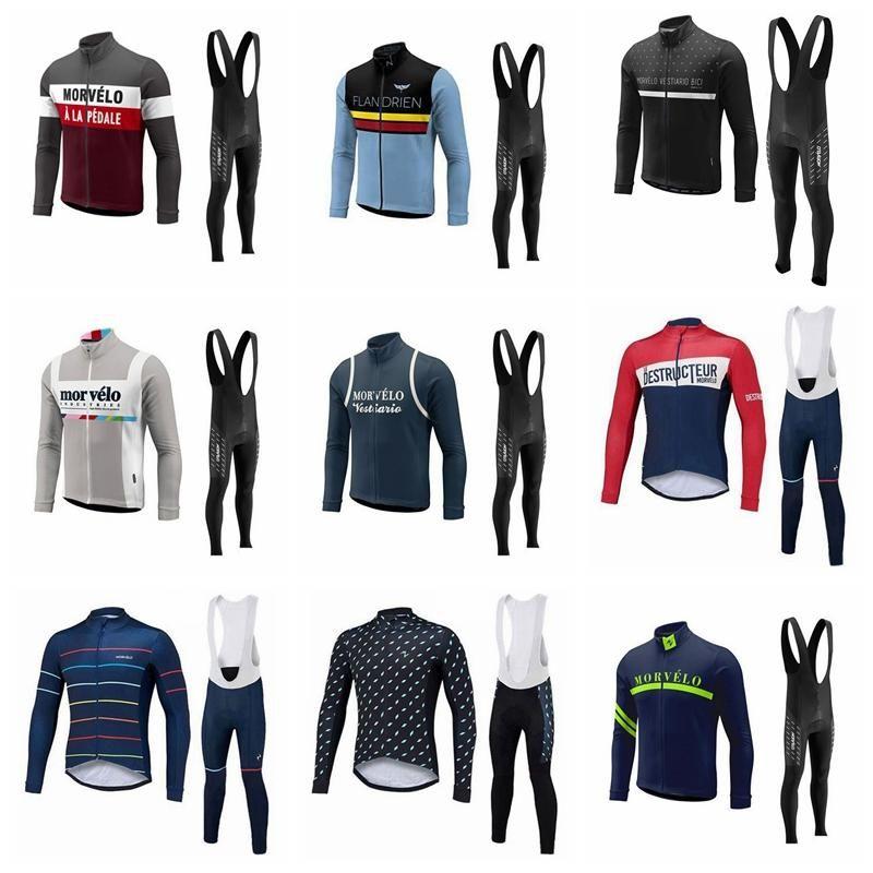 2019 de alta calidad de manga larga Pro Team Morvelo Otoño Ciclismo Jerseys fijados Hombres transpirables Ropa de ciclismo Ropa Ciclismo Bike Wear K010821