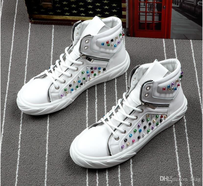 Yeni varış Hip hop perçin Sac Rahat Platformu yüksek top ayakkabı Flats Erkek Tasarımcı balo Elbise Loafer'lar Ayakkabı zapatos hombre BMM960