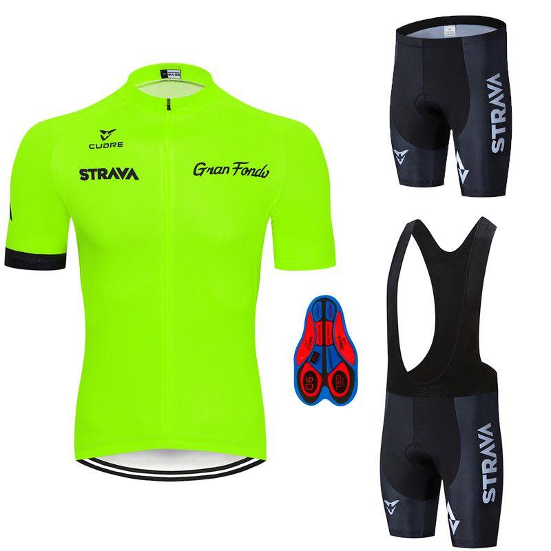 2020 Strava Pro Cycling Team été maillot de vélo Vêtements Respirant hommes chemise à manches courtes bavette vélo 9D pad Gel
