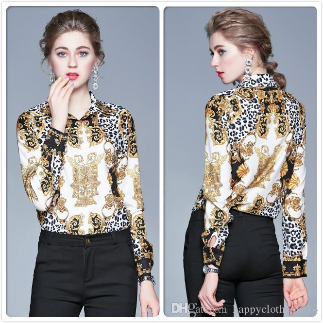 Die meistverkauften Barock Retro Druck Silk Shirt Frauen Langarm Revers Ausschnitt Plus Size Damen Runway Bluse Büro Designer-Knopf Shirts Tops