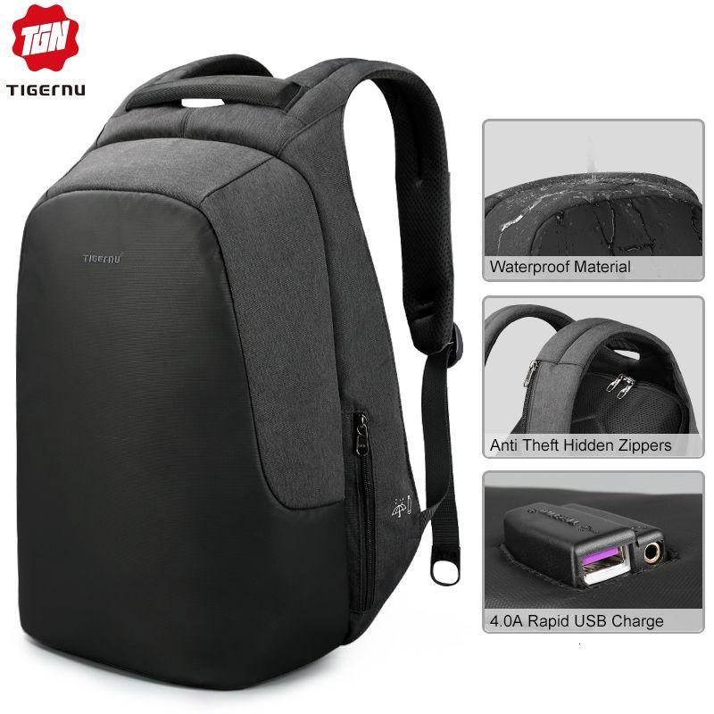 Tigernu الرجال العلامة التجارية النساء مكافحة سرقة حقيبة كمبيوتر محمول 15.6 السفر عارضة حقيبة الظهر المدرسية splashproof للشباب الفتيان الفتيات T191021