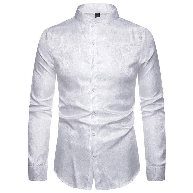 2019 Fashion Shirt Hommes manches longues Streetwear Homme Social Imprimé Vêtements confortable Slim Fit Marque col montant capotes