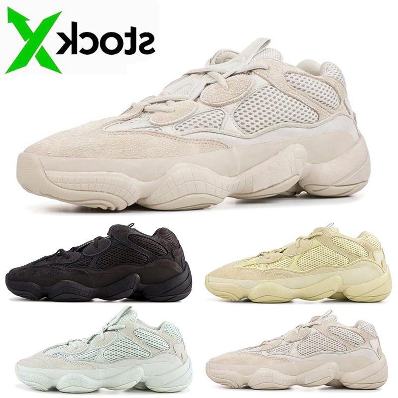 500 Hommes Classique Courir en os blanc Femmes de Super Lune Utility Jaune Noir fard à joues sel Kanye West Designer Sport Chaussures de sport en plein air Chaussures