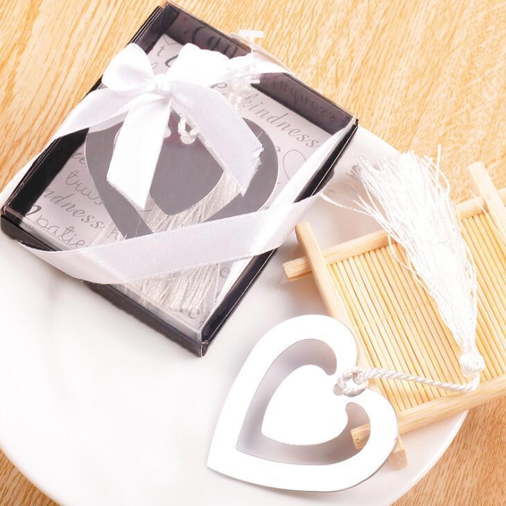 Presentes criativos favor de partido casamento aniversário bookmarks de metal duplo coração de metal com borlas frete grátis LX2174