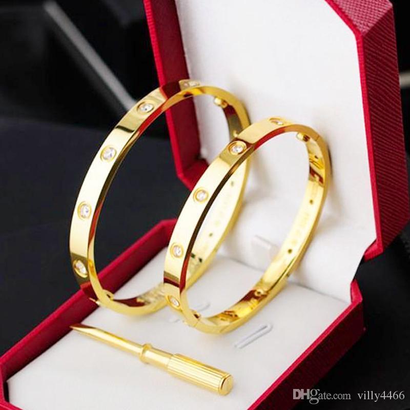 2019 Liebe Schraube Armreifen 316L Titanstahl mit zehn cz Stein Schraubendreher Armbänder für Frauen Männer puleiras mit original Tasche Geschenk