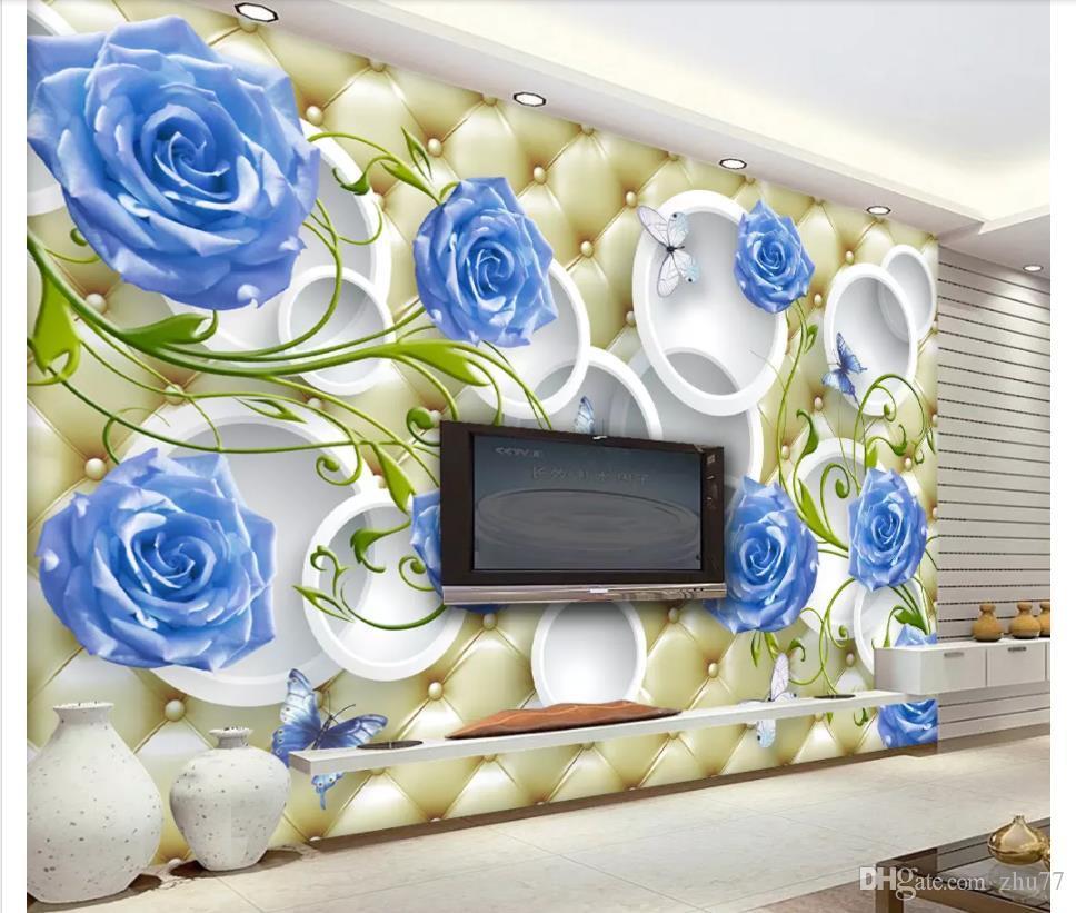 Papel de parede Custom 3d photo mural wallpaper home decor Modern fashion blue rose elegant soft bag 3D stereo wall wall sticker