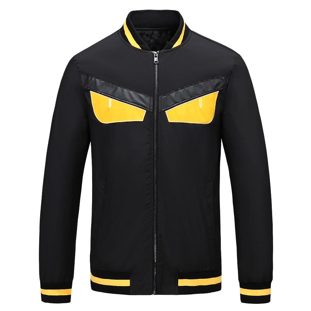 Fashion-2018 Spring Autumn New Mens Designer Jackets High Quality Stand Collar Yellow Eyes Casual Cardigan Luxury Jacket Plus Size M-3XL