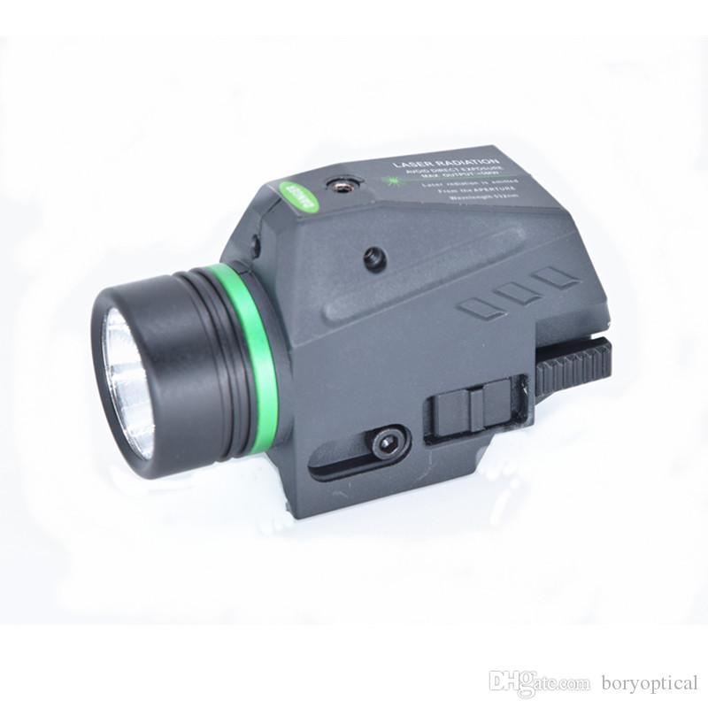 التكتيكية مصباح يدوي LED الأخضر / البصر بالليزر الأحمر للسكك الحديدية 20MM البسيطة مسدس ضوء الفانوس الادسنس الضوء