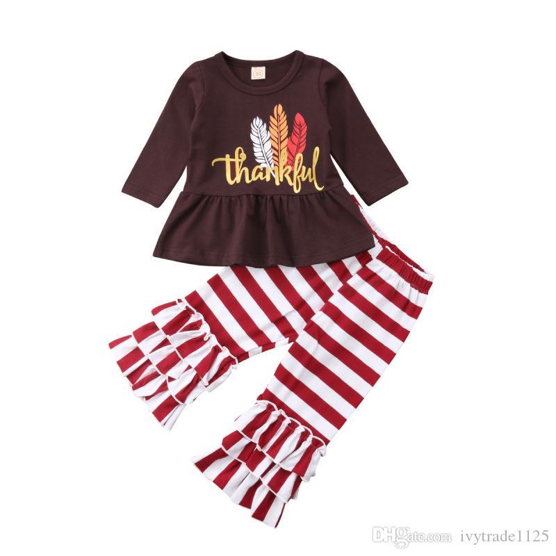 Kids Girl Clothing Thanks Giving Day Наборы из двух частей Футболка с длинным рукавом и брюки мультфильм Турция разделися Благодарность дает наборы одежды