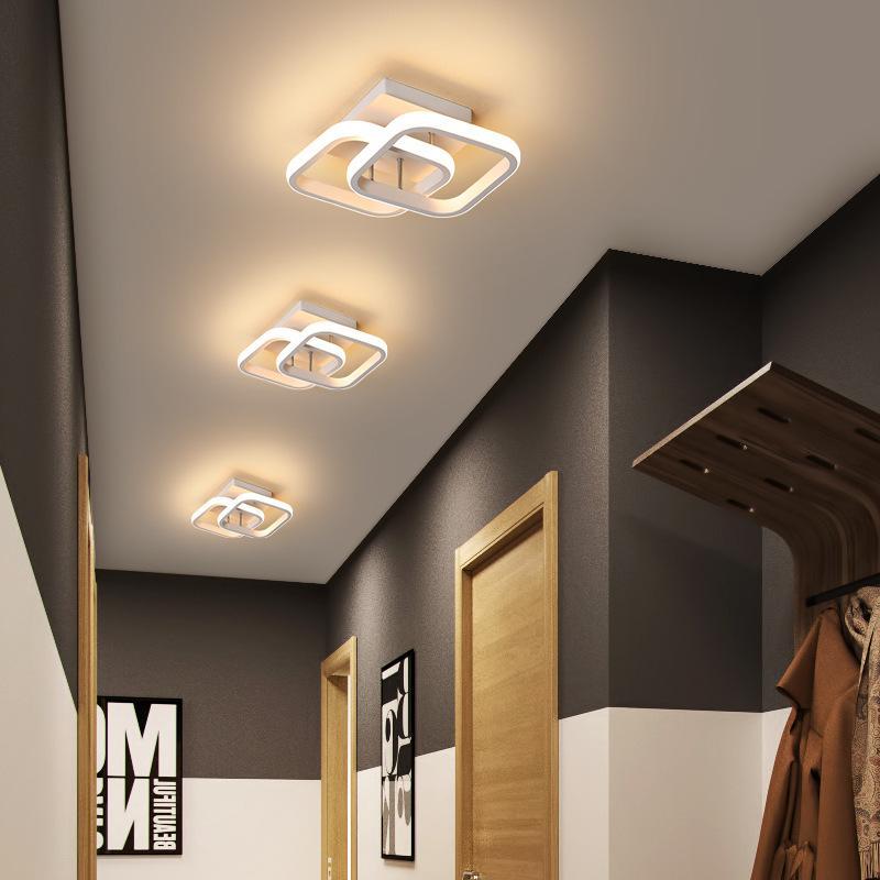 De techo moderna lámpara LED para el hogar Lustre Whiteblack llevó la luz de techo para el dormitorio Corredor luz del balcón luces luminarias de 18W RW198