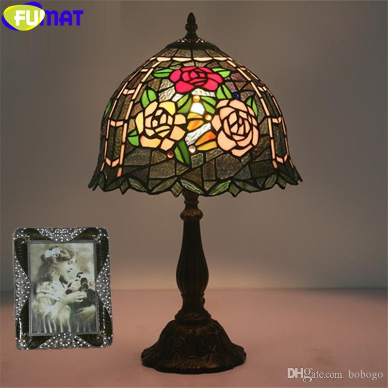 2020 Fumat Tiffany Style Table Lamp Red Pink Rose Stained Glass Desk Light Dia12 Inch Handicraft Home Decor E12 Green Leaf Lamps Led From Bobogo 327 19 Dhgate Com