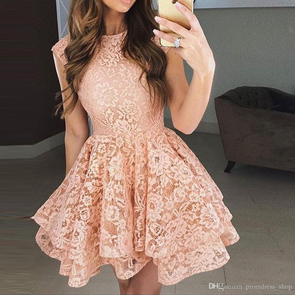 Lace Cocktail Dress 2020 Applique Pink Short Prom Dress Party Cocktail Dresses Cap Sleeves Vestidos De Coctel Robe